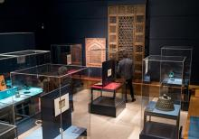 The installation view from the exhibition 'Ferozkoh: Tradition and Continuity in Afghan Art' at Leighton House Museum, London / © Courtesy Museum of Islamic Art