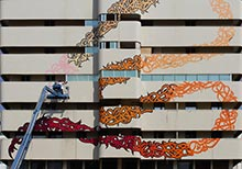 Calligraffiti Mural by eL Seed on the Sharjah Bank Street Building